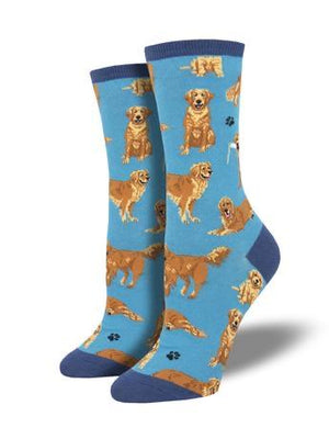 Golden Retrievers in Blue Women's Socks by SockSmith - The Sock Spot
