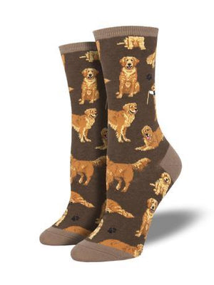 Golden Retrievers in Brown Women's Socks by SockSmith - The Sock Spot
