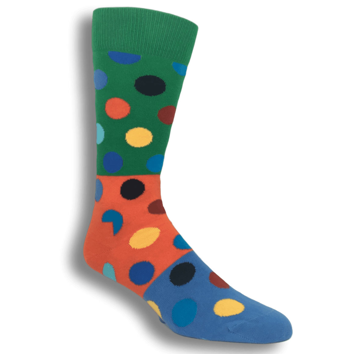 Green, Orange, and Blue Big Dots Block Socks by Happy Socks - The Sock Spot