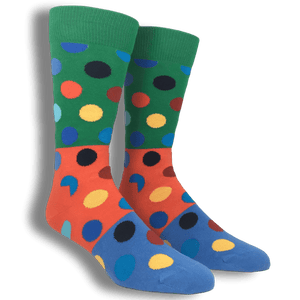 Socks - Green, Orange, And Blue Big Dots Block Socks By Happy Socks