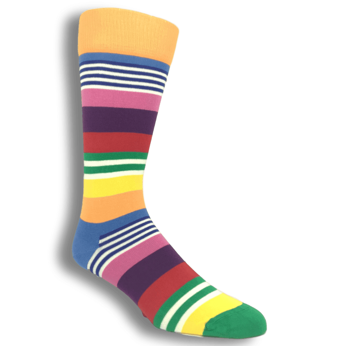 Socks - Green, Orange, And Pink Multi Stripe Socks By Happy Socks