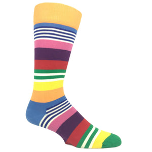 Green, Orange, and Pink Multi Stripe Socks by Happy Socks - The Sock Spot