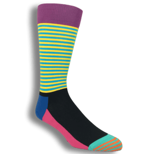 Green, Pink, and Blue Half Stripe Socks by Happy Socks - The Sock Spot