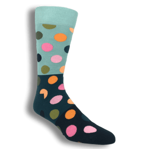 Socks - Grey, Blue, And Black Big Dots Block Socks By Happy Socks