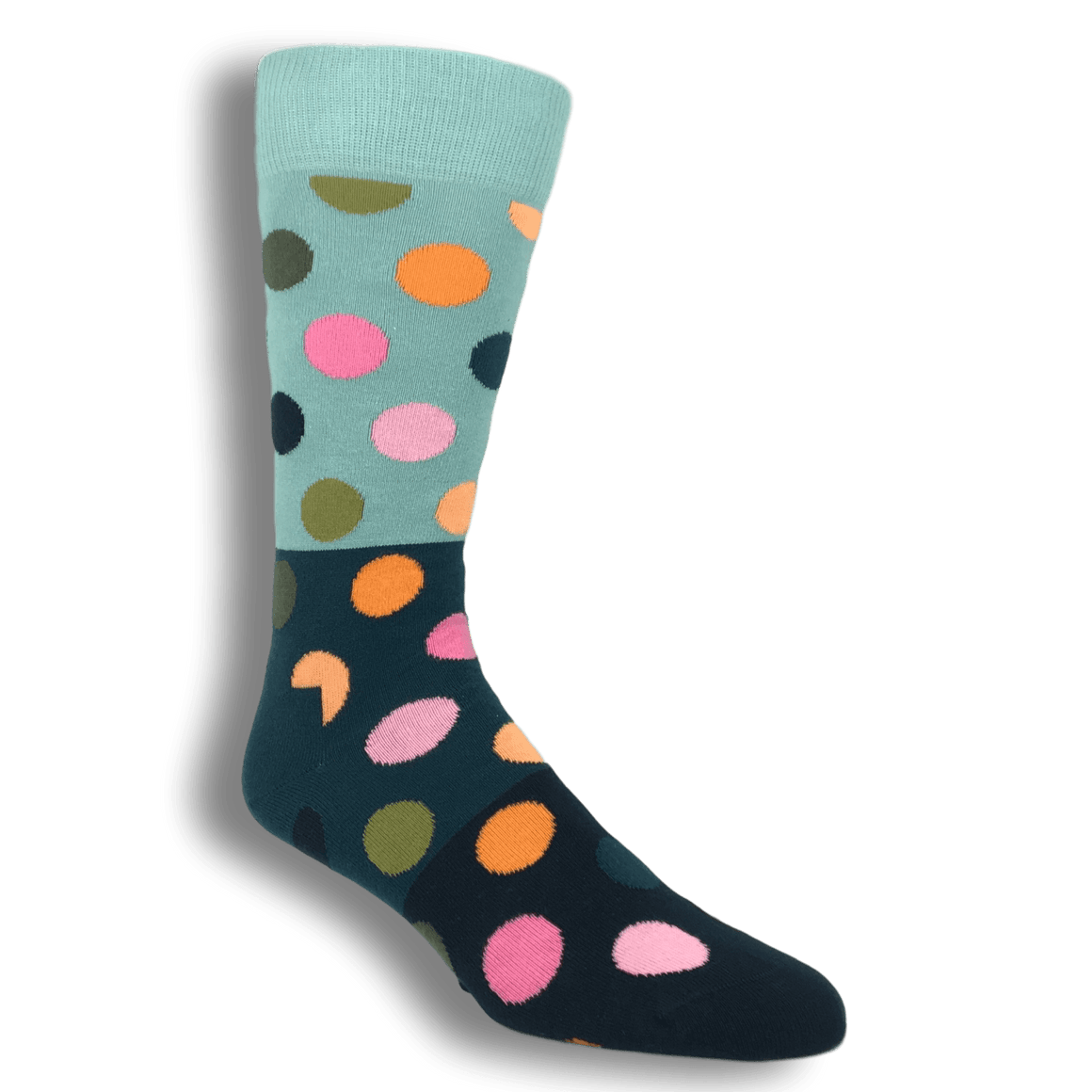 Grey, Blue, and Black Big Dots Block Socks by Happy Socks - The Sock Spot