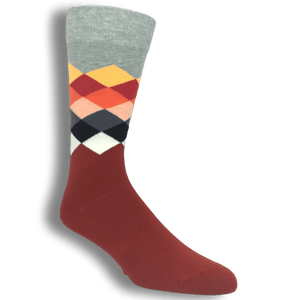 Socks - Grey, Red, And White Faded Diamond Socks By Happy Socks