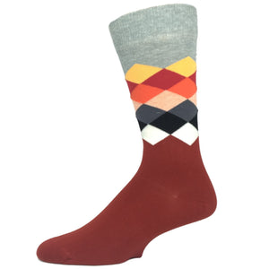 Grey, Red, and White Faded Diamond Socks by Happy Socks - The Sock Spot