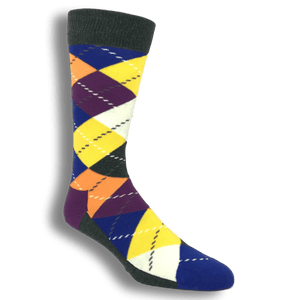 Grey, Yellow, and Purple Argyle Socks by Happy Socks - The Sock Spot