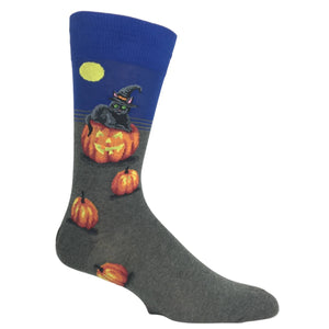 Halloween Cat Witch Socks in Blue by Hot Sox - The Sock Spot