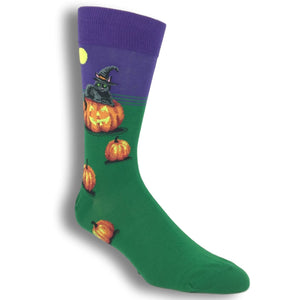 Halloween Cat Witch Socks in Purple by Hot Sox - The Sock Spot