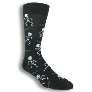 Halloween Dancing Skeletons Socks in Black by Hot Sox - The Sock Spot