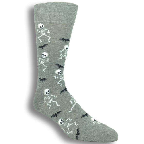 Halloween Dancing Skeletons Socks in Grey by Hot Sox - The Sock Spot