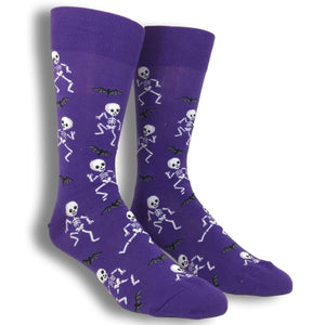 Halloween Dancing Skeletons Socks in Purple by Hot Sox - The Sock Spot