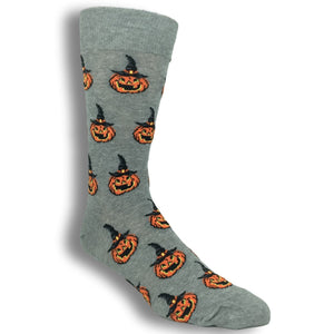 Halloween Jack O Lantern Socks in Grey by Hot Sox - The Sock Spot