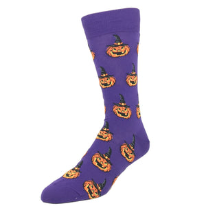 Halloween Jack O Lantern Socks in Purple by Hot Sox - The Sock Spot