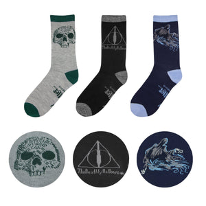 Socks - Harry Potter Deathly Hallows 3 Pair Sock Pack By Cinereplicas