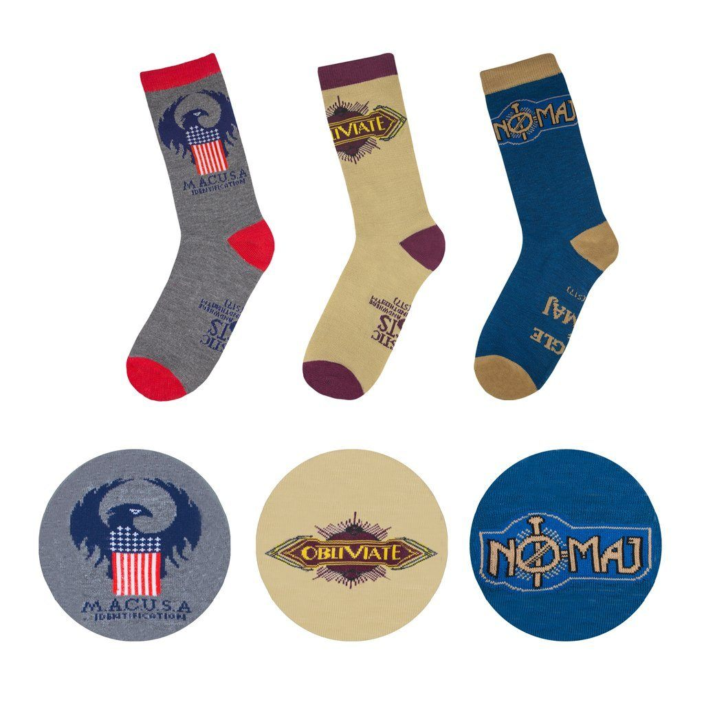 Fantastic Beasts Macusa 3 Pair Harry Potter Sock Pack by Cinereplicas - The Sock Spot