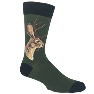 Jackalope Socks in Forrest Green by SockSmith - The Sock Spot