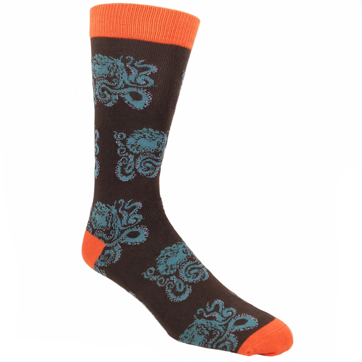 Socks - Kraken All Over Bamboo Socks -Brown