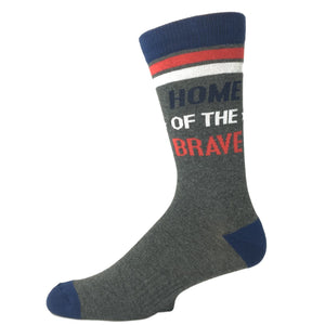 """Land of the Free. Home of the Brave"" Men's Socks - Made In America by K.Bell - The Sock Spot"