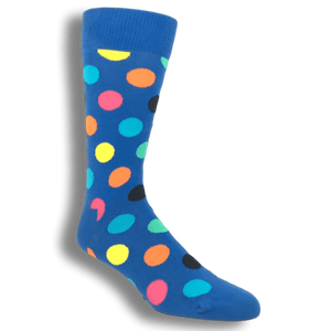 Light Blue with Multi Colored Big Dots Socks by Happy Socks - The Sock Spot