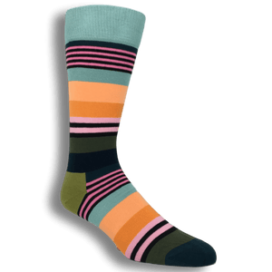 Socks - Light Teal Multi Stripe Socks By Happy Socks