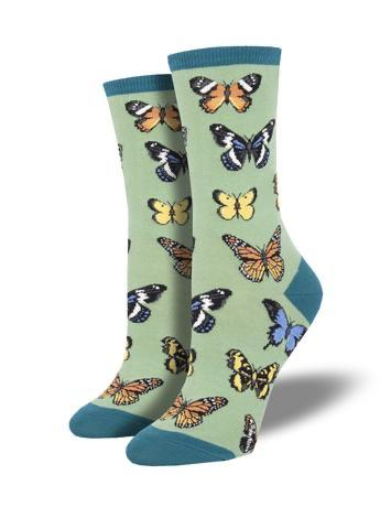 Majestic Butterflies in Green Women's Socks by SockSmith - The Sock Spot