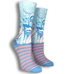 Marvel Captain America Faded Neon Printed Superhero Socks - The Sock Spot