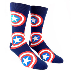 Marvel Captain America Large All Over Print Superhero Socks - The Sock Spot