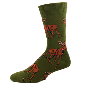Moose With Christmas Lights Socks by SockSmith - The Sock Spot