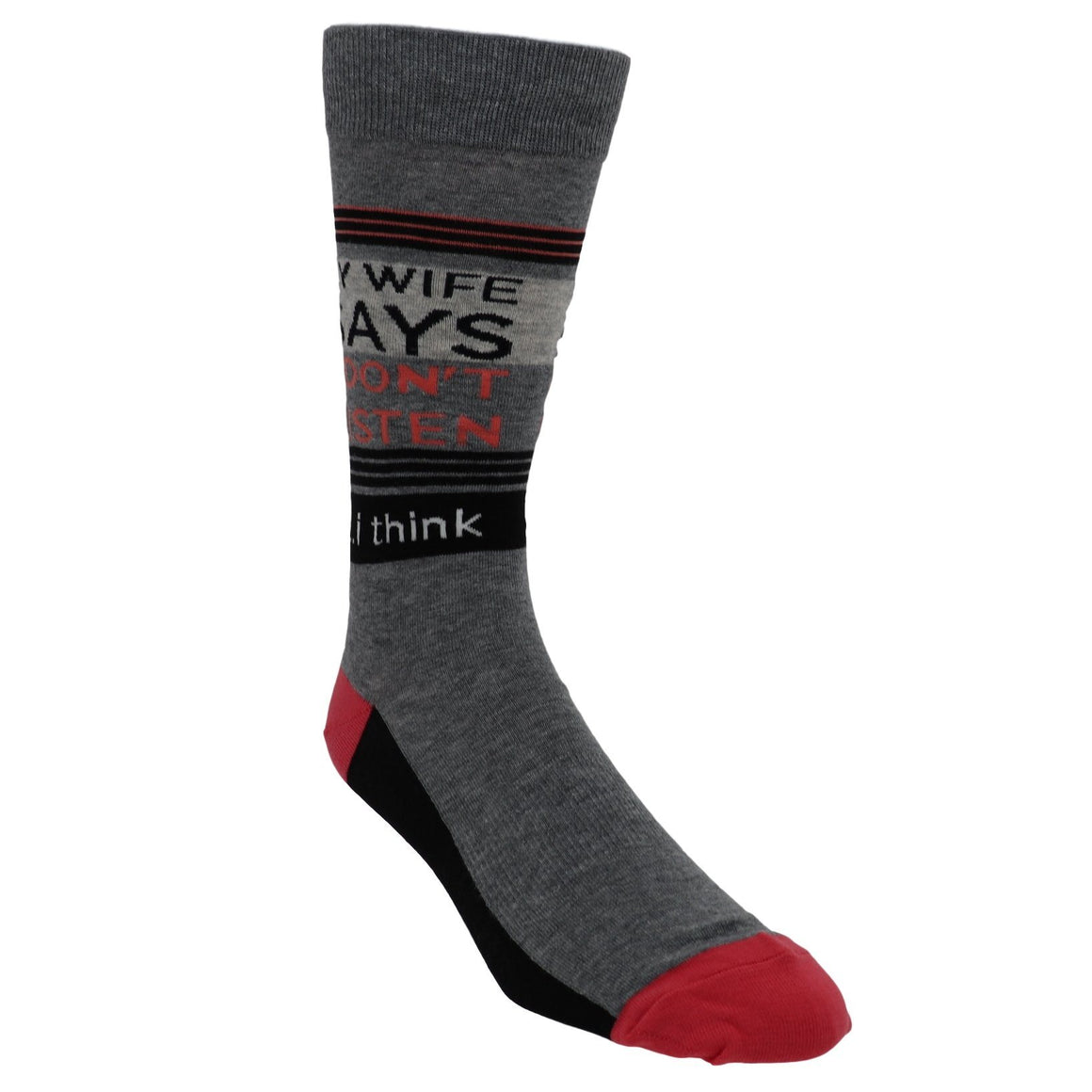 My Wife Says I Don't Listen...I Think Men's Socks by K.Bell - The Sock Spot