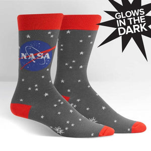 NASA Stargazer Glow in the Dark Men's Socks by Sock it to Me - The Sock Spot