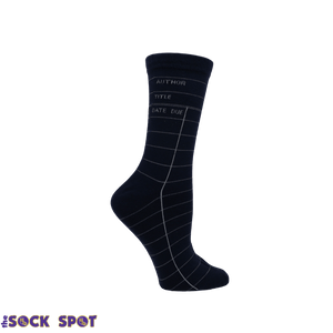 Navy Blue Library Card Socks - Small - The Sock Spot