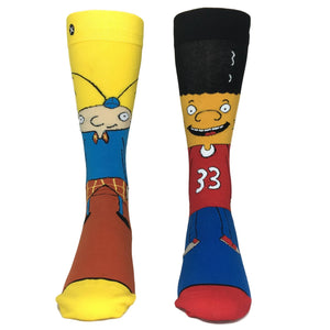 Nickelodeon Hey Arnold! Arnold and Gerald 360 Cartoon Socks by Odd Sox - The Sock Spot