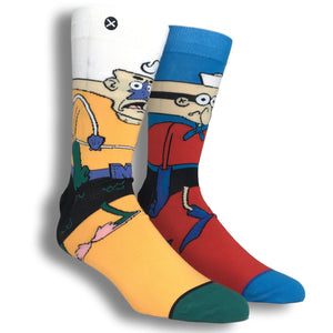 Nickelodeon SpongeBob SquarePants, Mermaid Man and Barnacle Boy 360 Cartoon Socks by Odd Sox - The Sock Spot