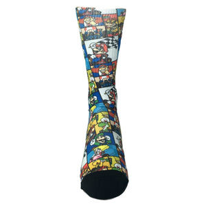 Nintendo SNES Mario Kart Collage Printed Socks - The Sock Spot