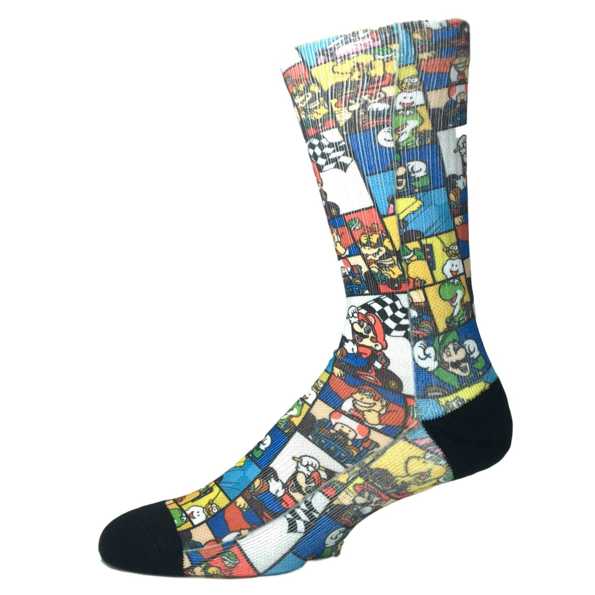 Socks - Nintendo SNES Mario Kart Collage Printed Socks