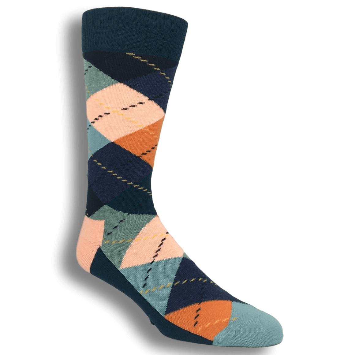 Orange, Blue, and Grey Argyle Socks by Happy Socks - The Sock Spot