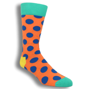 Orange with Blue Big Dots Socks by Happy Socks - The Sock Spot