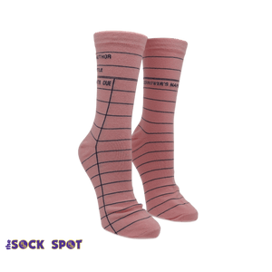 Pink Library Card Socks - Small - The Sock Spot