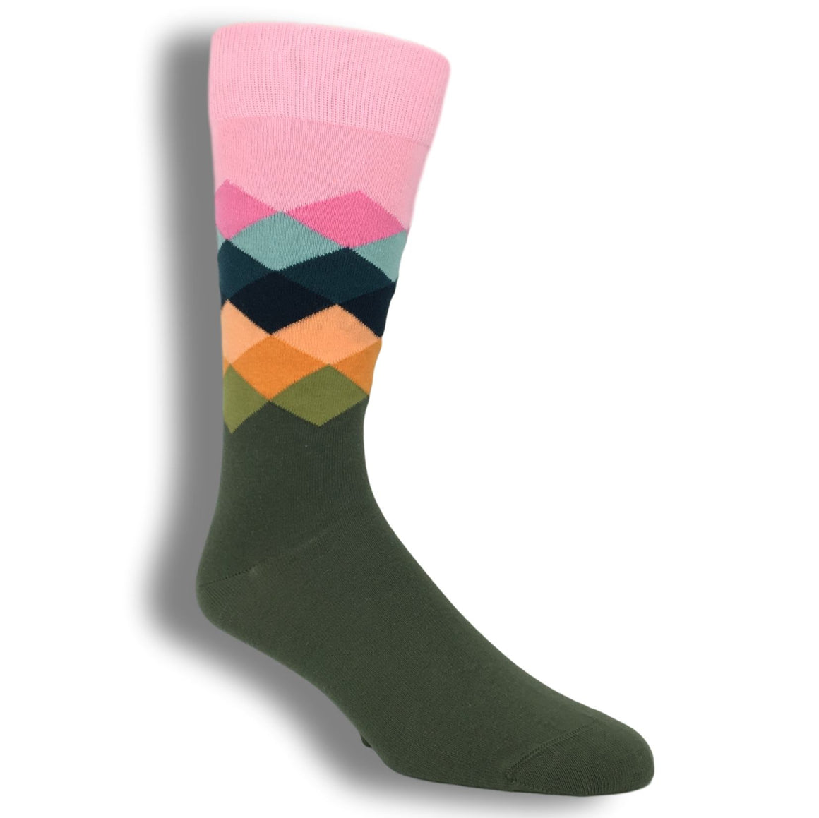 Socks - Pink, Orange, And Brown Faded Diamond Socks By Happy Socks