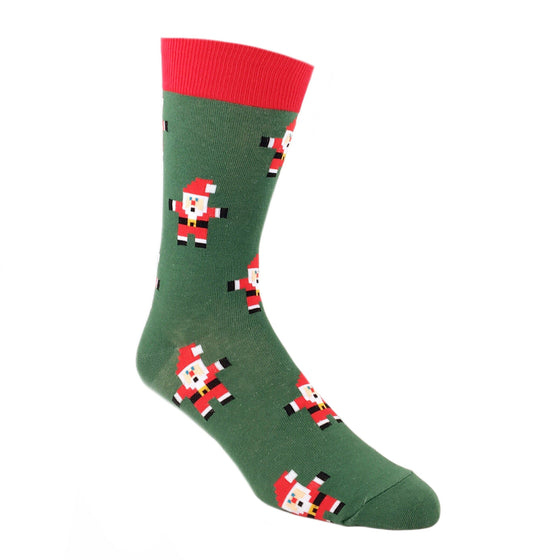Socks - Pixel Santa Claus Christmas Socks