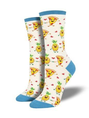 Pizza Loves Pineapple in Ivory Women's Socks by SockSmith - The Sock Spot