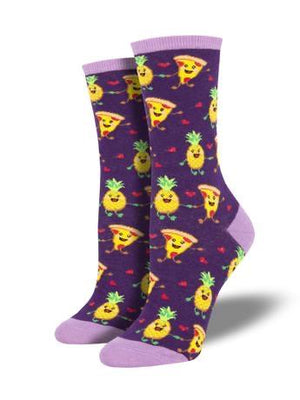 Socks - Pizza Loves Pineapple In Purple Women's Socks By SockSmith