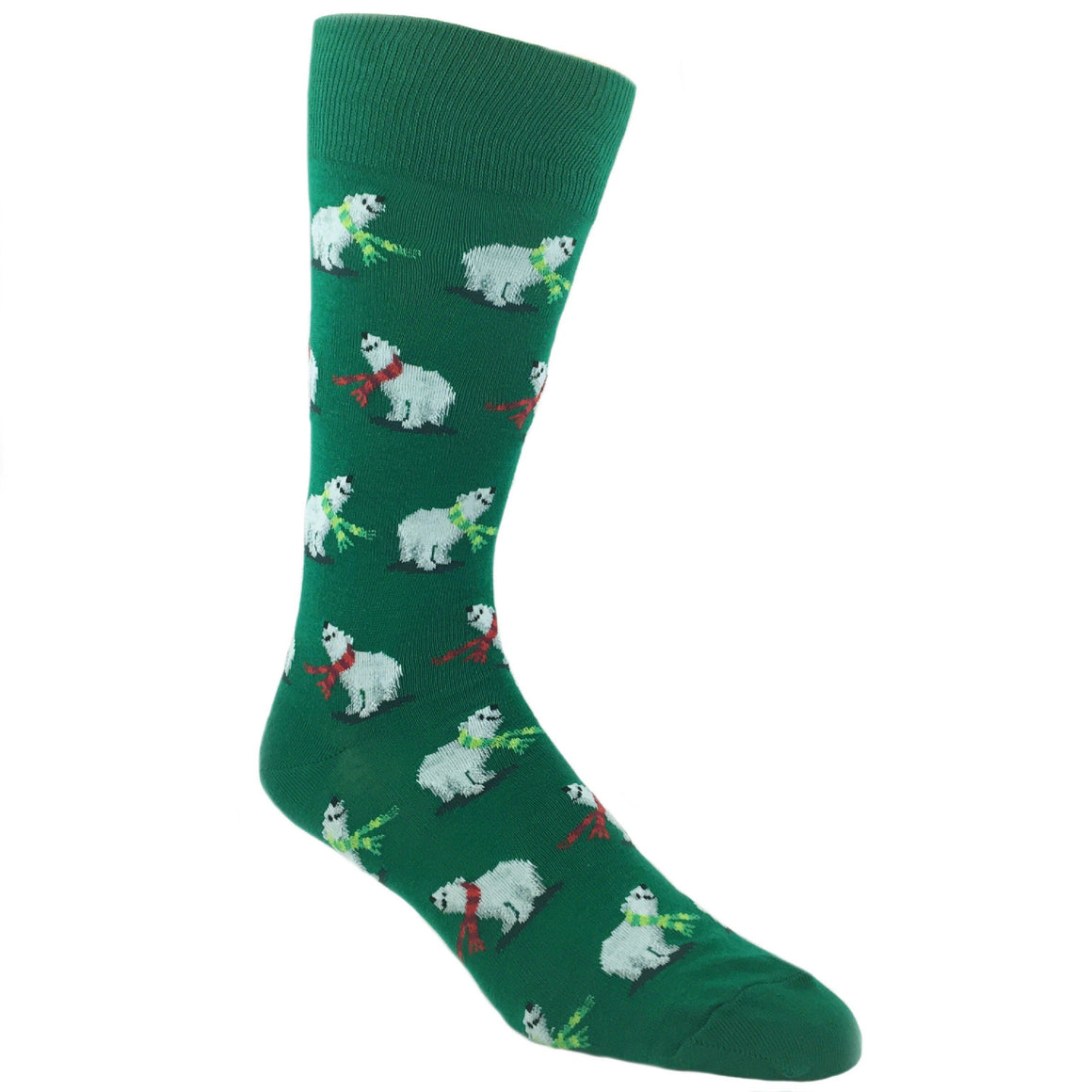Polar Bears Christmas Socks in Green by Hot Sox