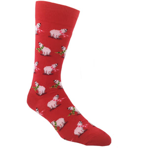 Polar Bears Christmas Socks in Red by Hot Sox - The Sock Spot