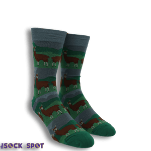 Prairie Llamas Men's Socks by Good Luck Sock - The Sock Spot