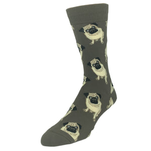 Pugs All Over Socks in Brown by SockSmith - The Sock Spot