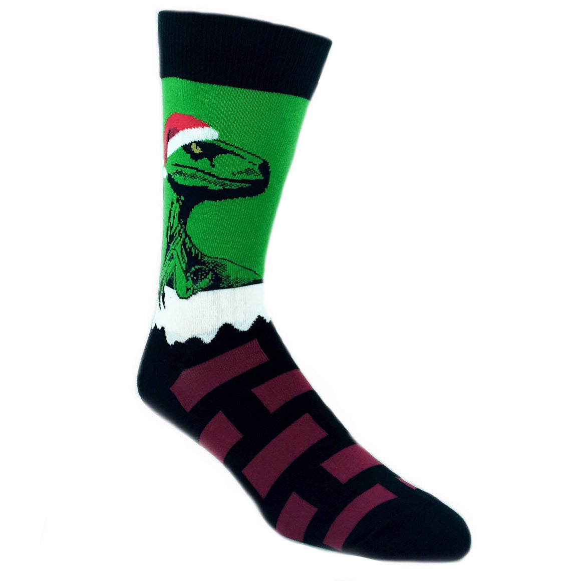 Raptor Claus Christmas Socks in Green by SockSmith