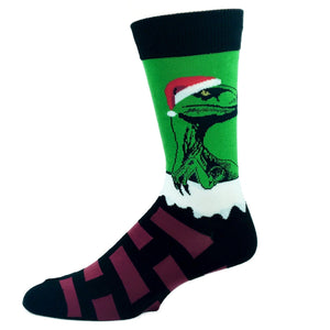 Raptor Claus Christmas Socks in Green by SockSmith - The Sock Spot